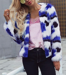 Casual Short Fur Coat   With Mixed Colors Blue m