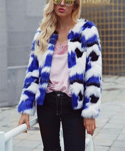 Casual Short Fur Coat   With Mixed Colors Blue l