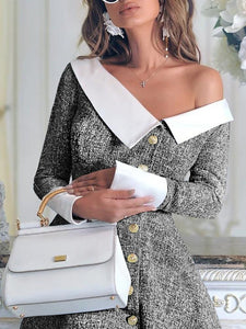 Fashion Off-Shoulder   Long Sleeve Coat Same As Photo m