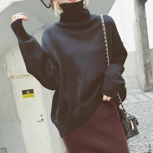 Casual High Collar Pure Colour Loose Knitted Sweater