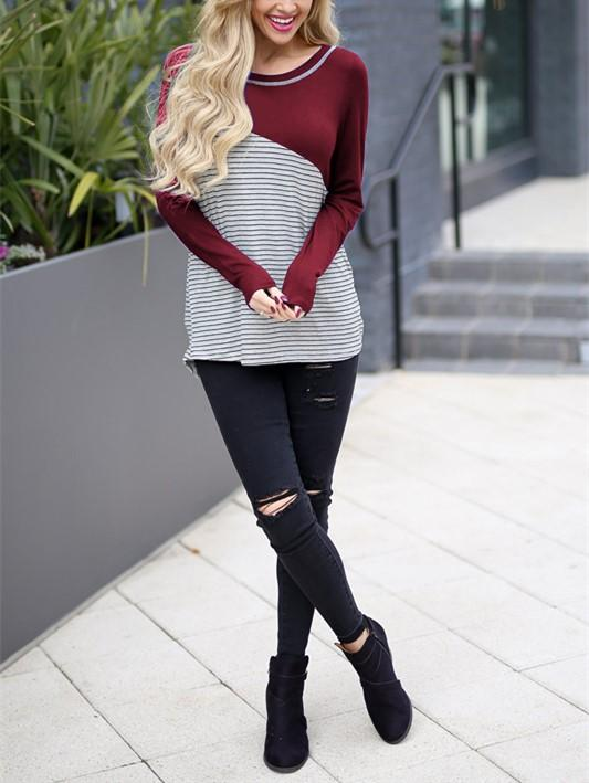 Casual Slim Striped   Stitching Long Sleeve Blouse T-Shirt Claret l