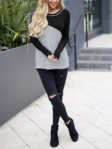 Casual Slim Striped   Stitching Long Sleeve Blouse T-Shirt Black m