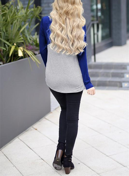 Casual Slim Striped   Stitching Long Sleeve Blouse T-Shirt Blue s