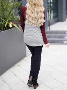 Casual Slim Striped   Stitching Long Sleeve Blouse T-Shirt Claret xl