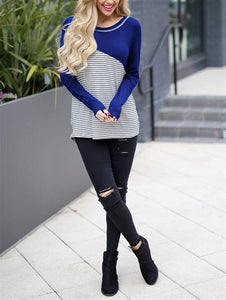 Casual Slim Striped   Stitching Long Sleeve Blouse T-Shirt Black 2xl