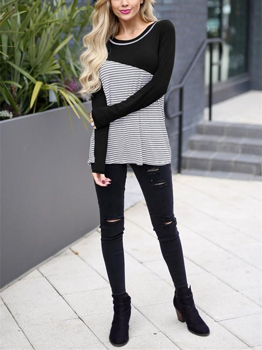 Casual Slim Striped   Stitching Long Sleeve Blouse T-Shirt Black s