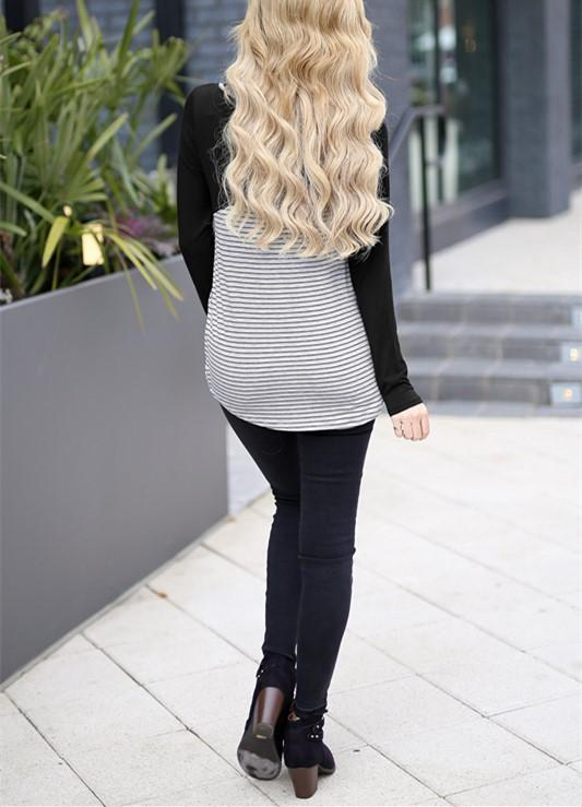 Casual Slim Striped   Stitching Long Sleeve Blouse T-Shirt Black l