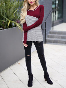 Casual Slim Striped   Stitching Long Sleeve Blouse T-Shirt Claret m