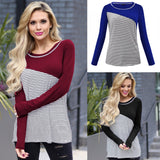 Casual Slim Striped   Stitching Long Sleeve Blouse T-Shirt Claret 2xl