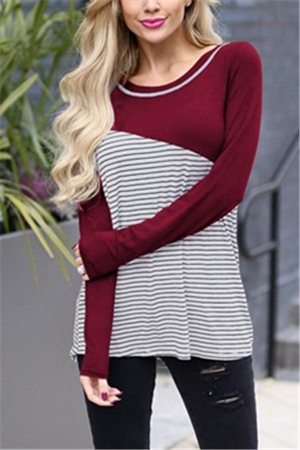 Casual Slim Striped   Stitching Long Sleeve Blouse T-Shirt Claret s