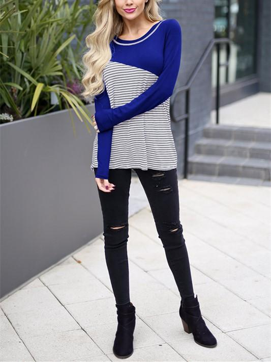 Casual Slim Striped   Stitching Long Sleeve Blouse T-Shirt Black xl