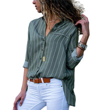 Casual Slim Striped Long Sleeved V Neck Blouse Shirt