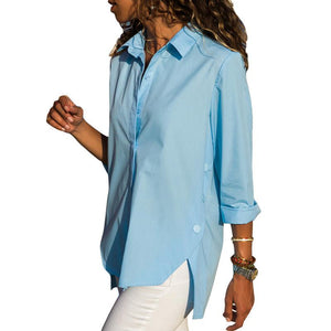 Casual Slim Pure Color   Front And Back Irregular Long Sleeved Chiffon Shirt Blouse Blue m
