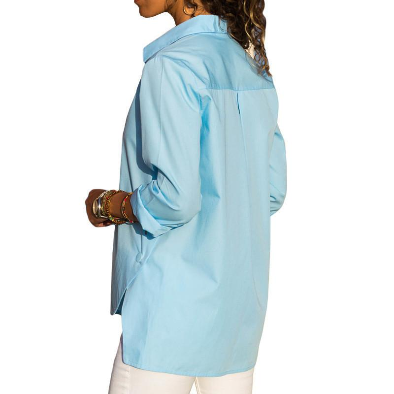 Casual Slim Pure Color   Front And Back Irregular Long Sleeved Chiffon Shirt Blouse Blue xl