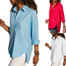 Casual Slim Pure Color Front And Back Irregular Long Sleeved Chiffon Shirt Blouse