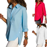 Casual Slim Pure Color   Front And Back Irregular Long Sleeved Chiffon Shirt Blouse Red s