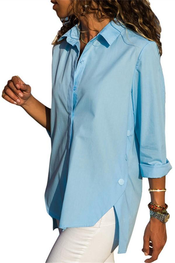 Casual Slim Pure Color   Front And Back Irregular Long Sleeved Chiffon Shirt Blouse Blue s