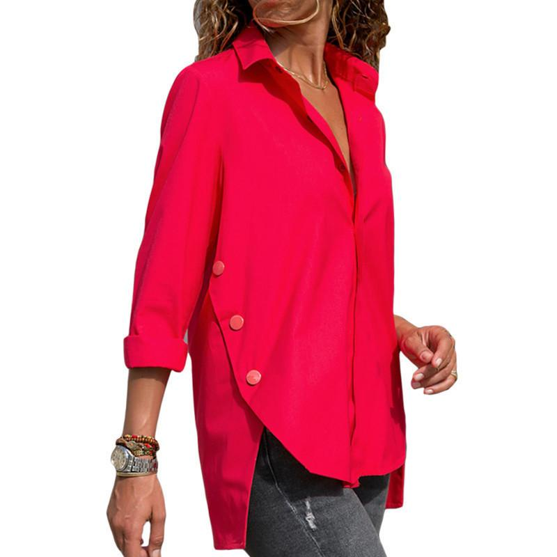 Casual Slim Pure Color   Front And Back Irregular Long Sleeved Chiffon Shirt Blouse Red l