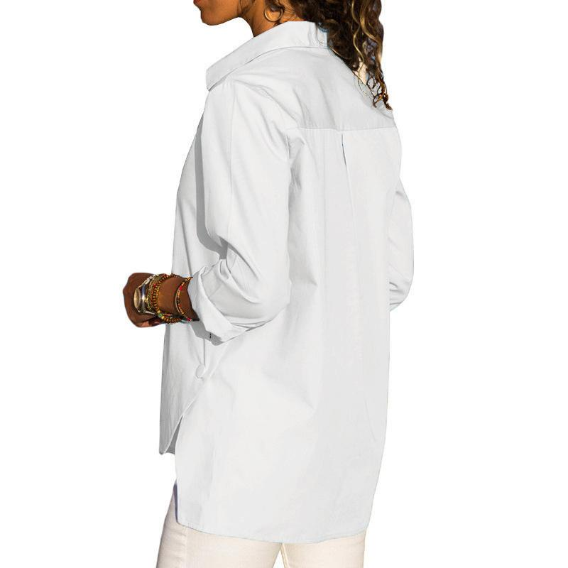 Casual Slim Pure Color   Front And Back Irregular Long Sleeved Chiffon Shirt Blouse White s