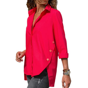 Casual Slim Pure Color   Front And Back Irregular Long Sleeved Chiffon Shirt Blouse Red m