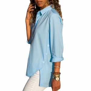 Casual Slim Pure Color   Front And Back Irregular Long Sleeved Chiffon Shirt Blouse Blue l