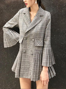 Fashion Elegant Bell Sleeve Check Pleated Suit Jacket Same As Photo m