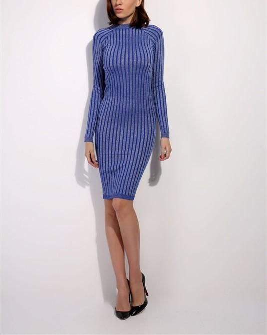 Casual Slim Sexy Slim   Silk Dress With Round Collar And Long Sleeves Mini Dresses Claret one size
