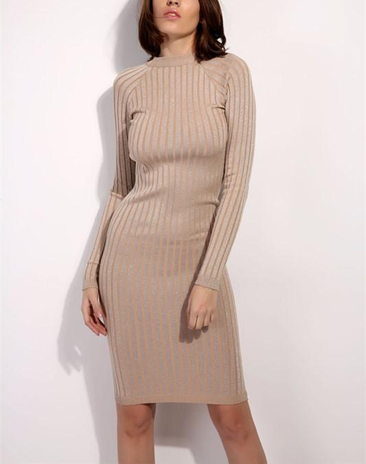 Casual Slim Sexy Slim   Silk Dress With Round Collar And Long Sleeves Mini Dresses coffee one size