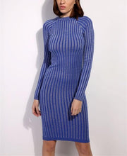 Casual Slim Sexy Slim Silk Dress With Round Collar And Long Sleeves Mini Dresses
