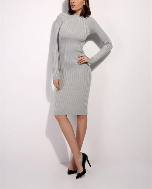 Casual Slim Sexy Slim   Silk Dress With Round Collar And Long Sleeves Mini Dresses gray one size
