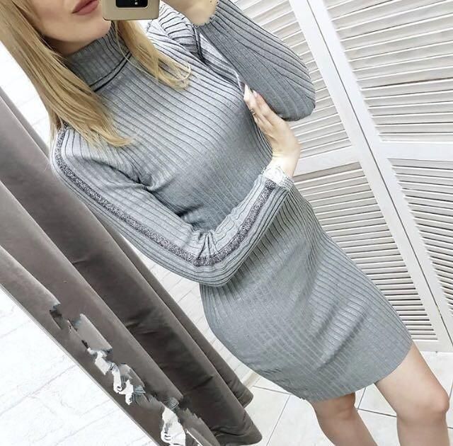 Casual Slim Sexy Slim   Silk Dress Round Collar And Long Sleeves Knit Mini Dresses