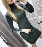 Casual Slim Sexy Slim   Silk Dress Round Collar And Long Sleeves Knit Mini Dresses Gray one size