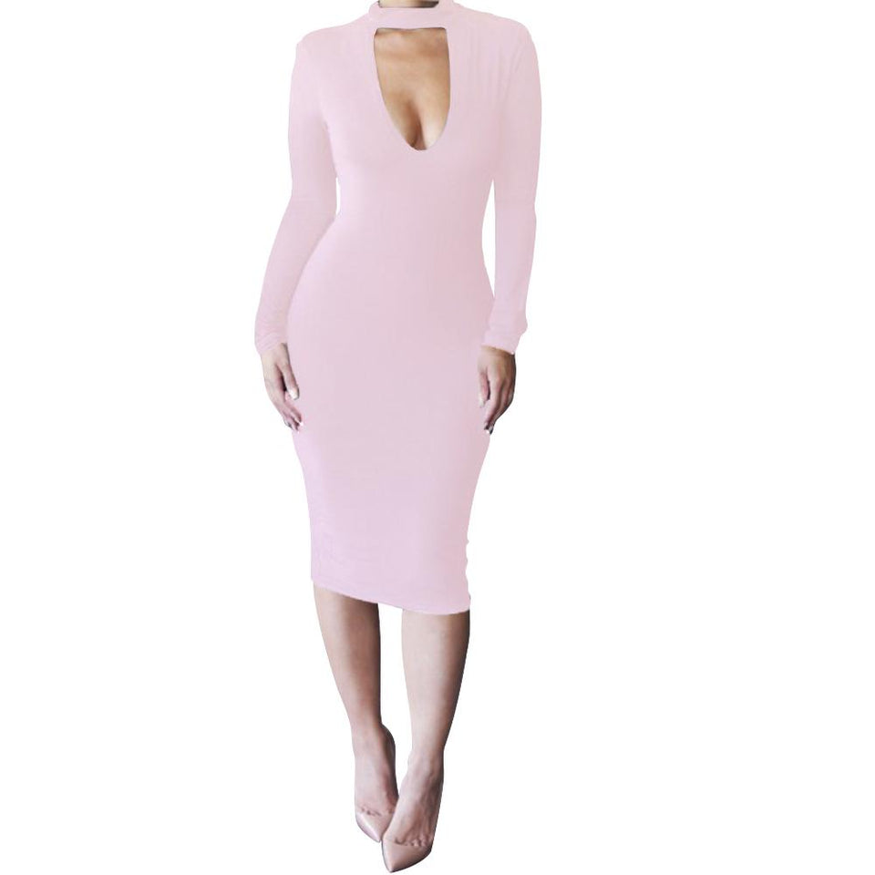 Casual Slim Sexy Pure   Color Knitted Mini Dress Pink s