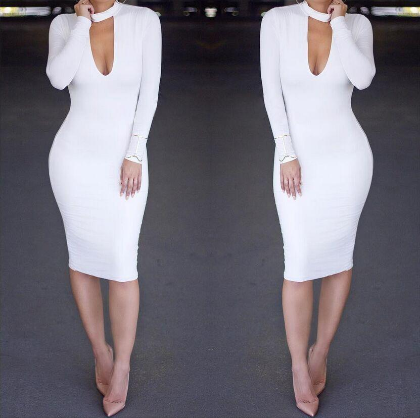 Casual Slim Sexy Pure   Color Knitted Mini Dress White l
