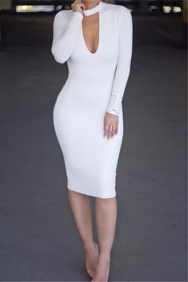 Casual Slim Sexy Pure   Color Knitted Mini Dress White s