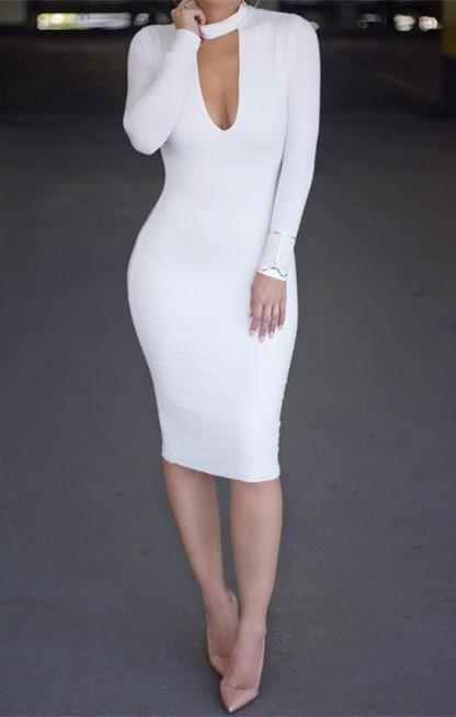 Casual Slim Sexy Pure   Color Knitted Mini Dress White m