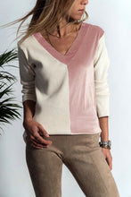 Casual V-Neck Pleuche Matching Color Long Sleeve T-Shirt Blouse