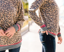 Casual Fashion Round Collar Leopard Print Long Sleeve Blouse Fleece