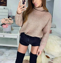Casual Pure Color High Necked Long Sleeved Knit Sweater