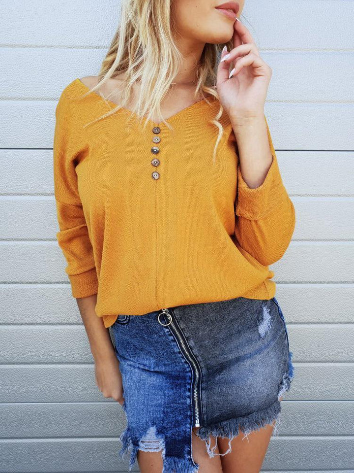 Casual Pure Color Sexy   V Neck Off The Shoulder Button Knit Top T-Shirt Yellow l