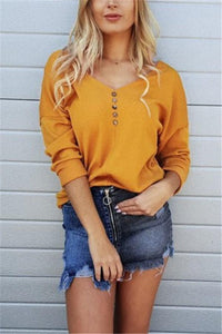 Casual Pure Color Sexy   V Neck Off The Shoulder Button Knit Top T-Shirt Yellow s
