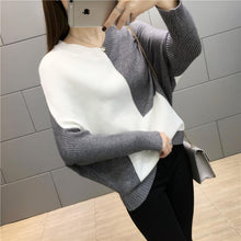Fashion V Collared Loose Color Sweater