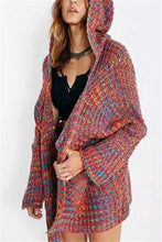 Casual Baggy Colored Cotton Knit Cardigan Coat