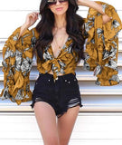 Casual Bell-Sleeve   Ruffled Edge Irregular Crop Printing  Blouse Yellow s
