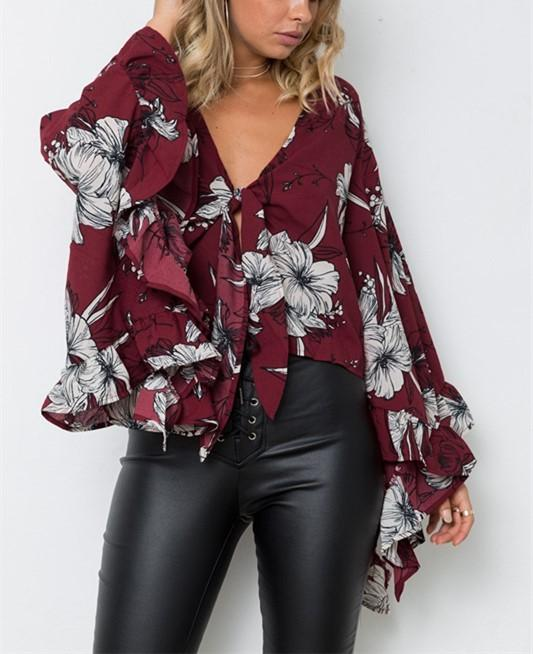 Casual Bell-Sleeve   Ruffled Edge Irregular Crop Printing  Blouse Red xl