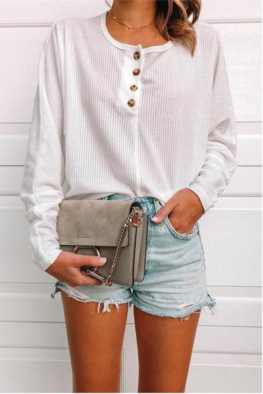Casual Pure Color Button Knit Top T-Shirt White m