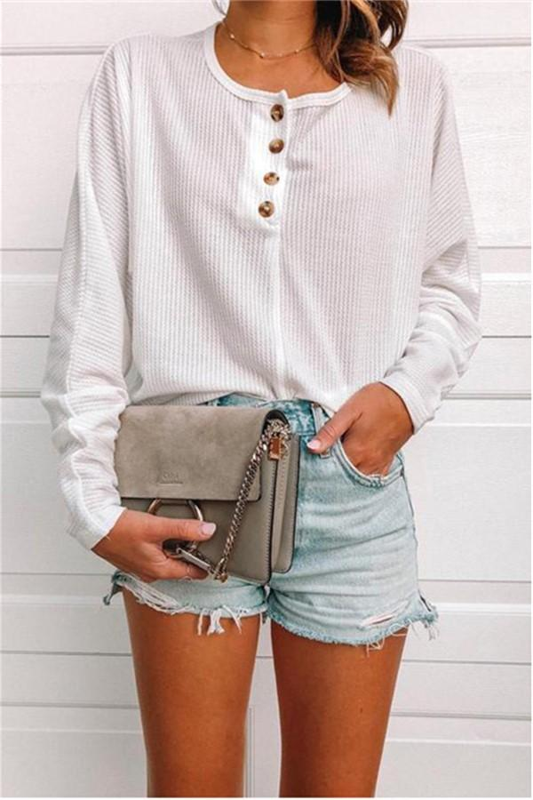 Casual Pure Color Button Knit Top T-Shirt White s