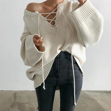 Fashion V Neck Pure Colour Lace-Up Sweater