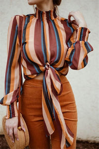 Casual Long Sleeved Stand Up Collar Striped Shirt Blouse Same As Photo s
