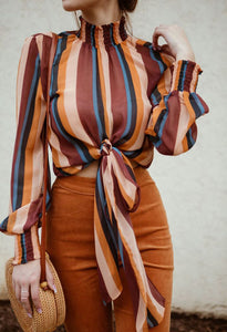 Casual Long Sleeved Stand Up Collar Striped Shirt Blouse